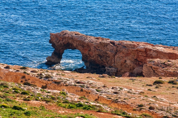Natural arch below the Hagar qim site