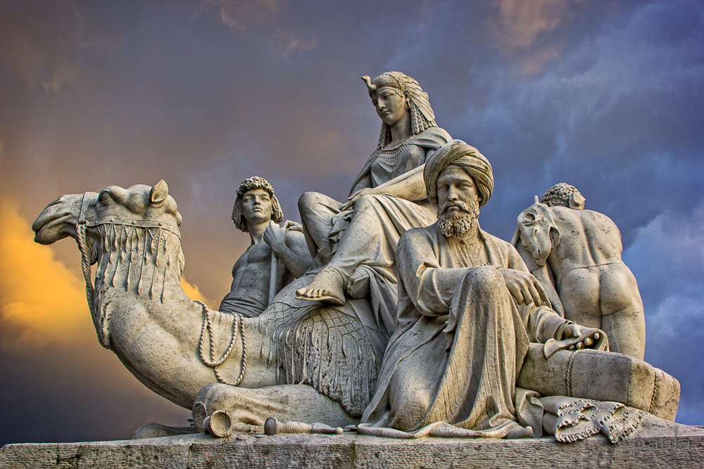 This allegorical sculpture of Africa by William Theed is part of Albert Memorial commissioned by Queen Victoria in memory of her beloved husband (Kensington Gardens, London)