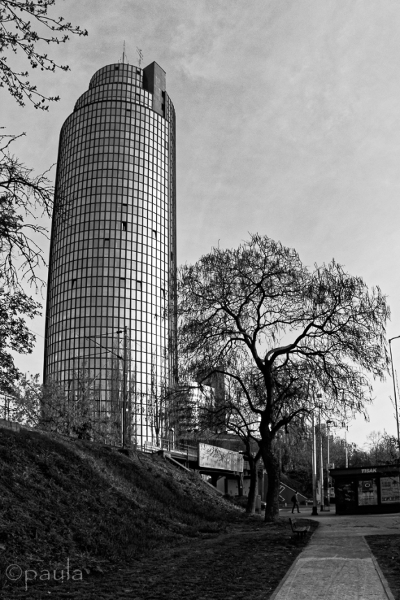 Cibona Tower again from a street