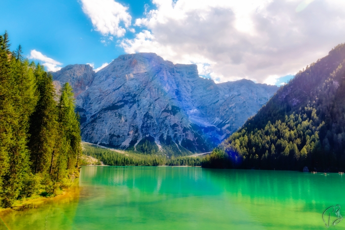 Lago di Braies with a shining mountain